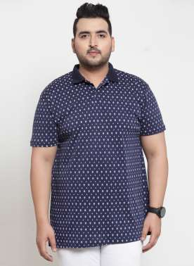 Men Navy Blue Printed Polo Collar T-shirt
