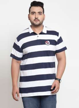 Men White Striped Polo Collar T-shirt