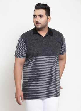Men Grey & Black Striped Polo Collar T-shirt