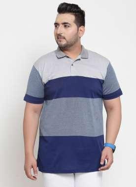 Men Blue Colourblocked Polo Collar T-shirt
