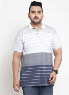 Men Navy Blue Striped Polo Collar T-shirt