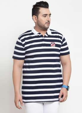 Men Blue & White Striped Polo Collar T-shirt