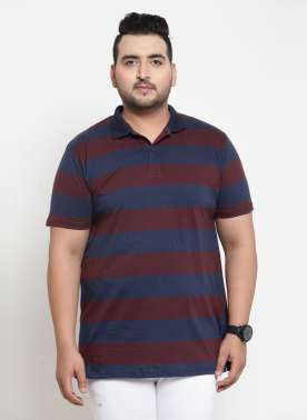Men Blue Striped Polo Collar T-shirt