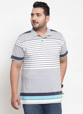 Men Grey Striped Polo Collar T-shirt