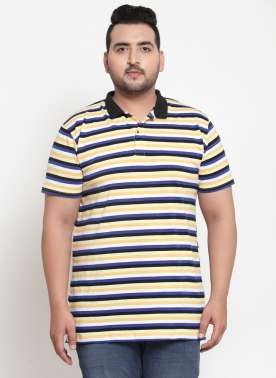 Men Yellow & Blue Striped Polo Collar T-shirt