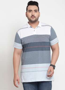 Men White & Blue Striped Polo Collar T-shirt