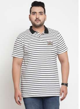 Men White & Black Striped Polo Collar T-shirt