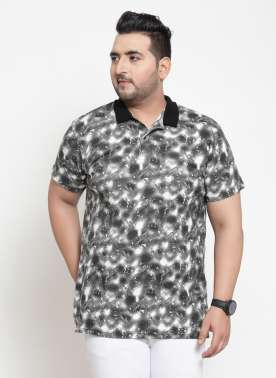 Men Black Printed Polo Collar T-shirt