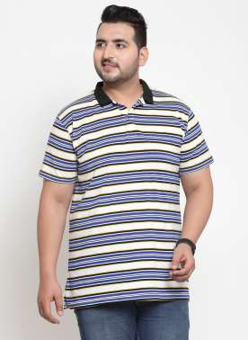 Men Multicoloured Striped Polo Collar T-shirt