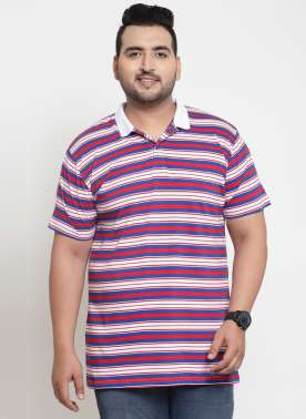 Men Red & Blue Striped Polo Collar T-shirt