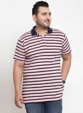 Men Blue Striped Polo Collar T-shirt