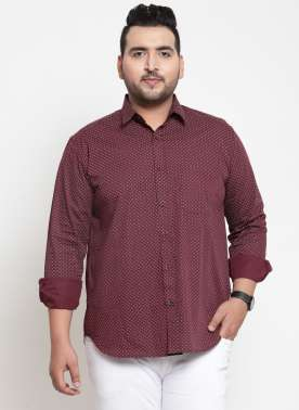 Men Maroon Regular Fit Printed Casual Shirt