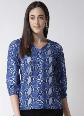 Women Blue Snakeskin Print Top