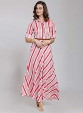 Women White Checked Maxi Dress