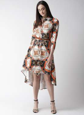 Women Off-white & Orange Printed High-Low Shirt Dress