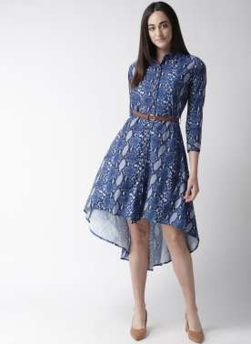 Women Blue Snake Skin Print High-Low Shirt Dress