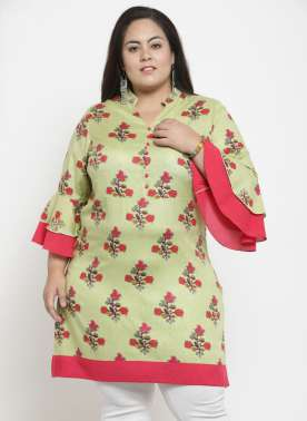Women Green & Coral Pink Printed Tunic