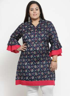 Women Blue & Red Printed Tunic