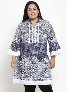 Women White & Blue Printed Tunic