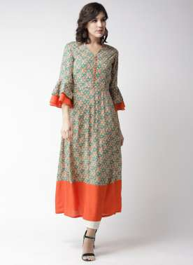 Women Green & Orange Printed A-Line Kurta
