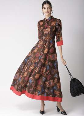 Women Brown & Beige Printed A-Line Dress