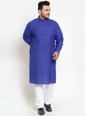Men Navy Blue Solid Straight Kurta Pyjama