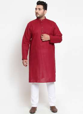 Men Maroon Solid Straight Kurta Pyjama