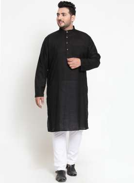 Men Black Solid Straight Kurta Pyjama