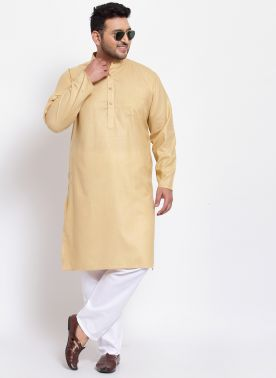 Men Mustard Solid Straight Kurta Pyjama