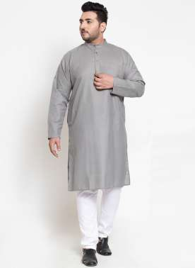 Men Grey Solid Straight Kurta Pyjama