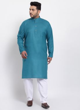 Men Green Solid Straight Kurta Pyjama