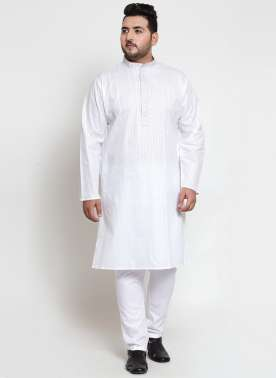 Men White Solid Straight Kurta Pyjama