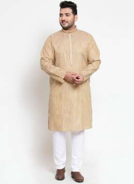 Men Beige Solid Straight Kurta Pyjama