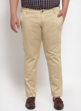 Men Beige Solid Smart Fit Flat-Front Trousers