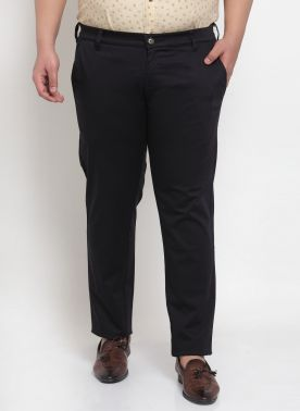 Navy Casual Trouser With Regular Fit