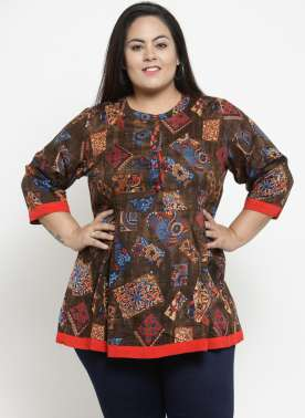 Women Brown & Red Printed Tunic