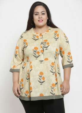 Women Beige Printed Empire Top