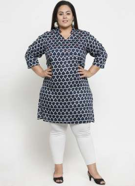 Women Blue & White Printed Tunic