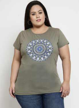 Women Olive Printed Round Neck T-shirt