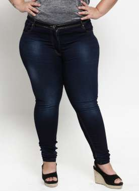 WOMEN BLUE REGULAR FIT MID-RISE CLEAN LOOK JEANS