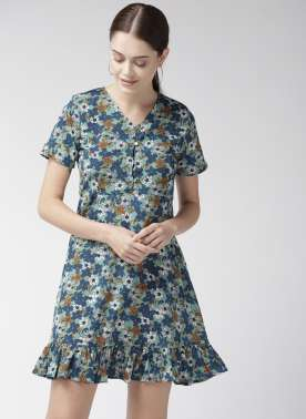 Women Sea Green & Blue Printed A-Line Dress