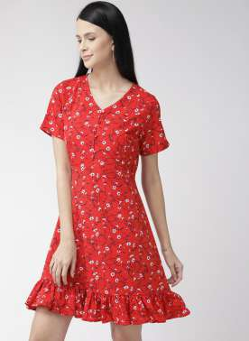 Women Red & Blue Printed A-Line Dress