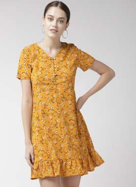 Women Mustard Yellow & Black Printed A-Line Dress
