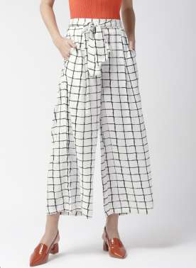 Women White & Black Checked Flared Palazzos