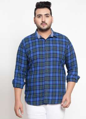 Men Navy Blue Checked Casual Shirt