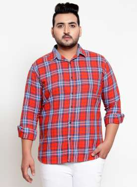 Men Orange Checked Casual Shirt