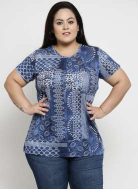 Women Blue Printed Round Neck T-shirt