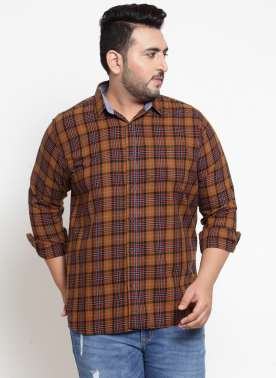 Men Red & Brown Regular Fit Checked Casual Shirt
