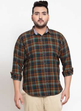 Men Orange & Brown Regular Fit Checked Casual Shirt