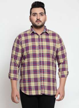 Men Lemon Checked Casual Shirt
